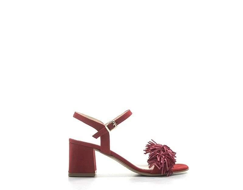 Schuhe schwarzFUMO Frau rot Stoff 102418VEL-RO