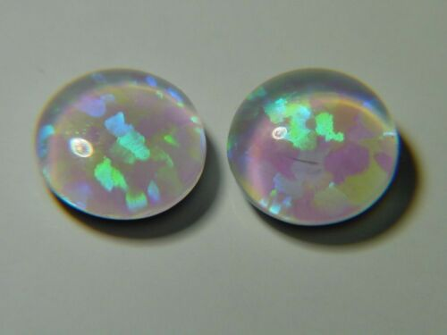 Gilson White Opal 6mmx2mm round triplet cabochon gems lapidary 4649D BUTW 4