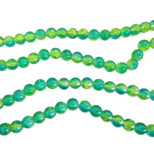 8mm azur gelb grün Perlen nenad-design ca 110 Glasperlen CRACKLE rund ca