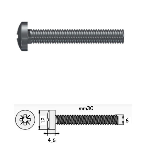 A2 Stainless Screw Head Cylindrical Cut Cross DIN 7985 m6x30