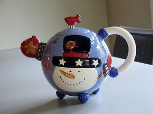 Vintage-Christmas-Ceramic-SNOWMAN-TEAPOT-Large-40oz-New-Unused