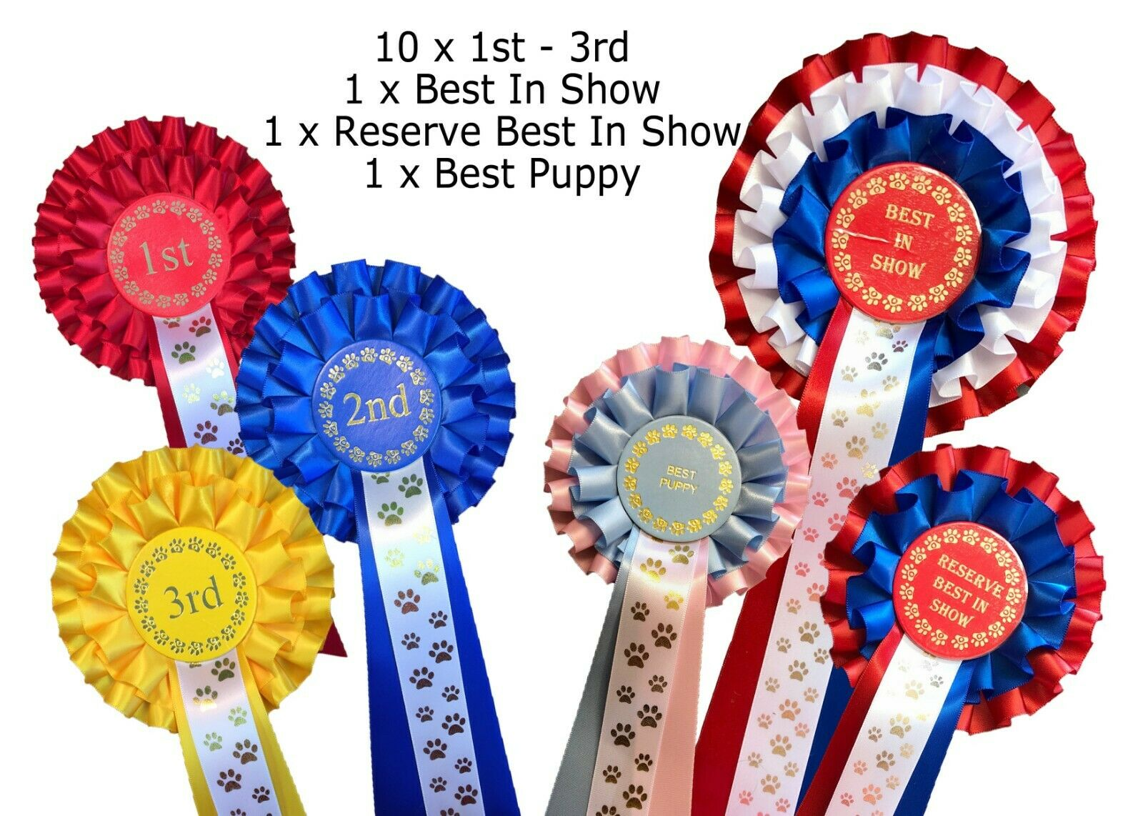 10 sets 1st-3rd 2 Tier Dog pinkttes Best In Show Res Best In Show Best Puppy