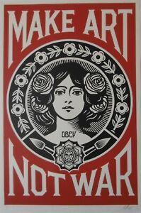 Shepard Fairey Obey Giant Make Arte Not War Serigrafía Firmada Y Fechado 2021