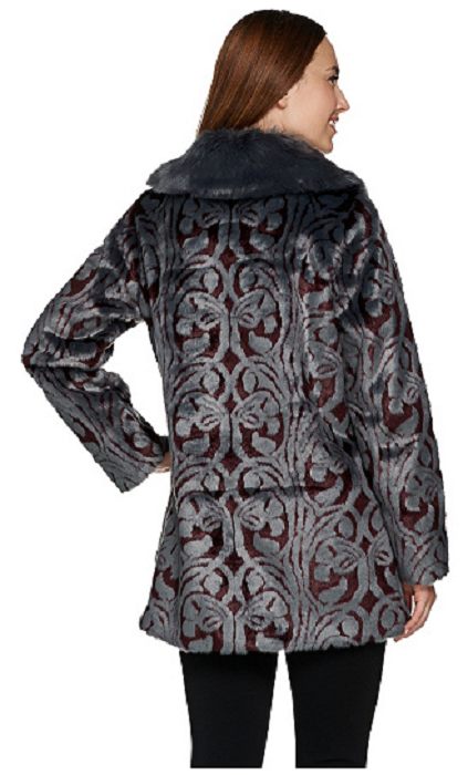 Dennis Basso Platinum Collection Collection Collection Jacquard Faux Fur Coat, Size S, MSRP  199 41dae0