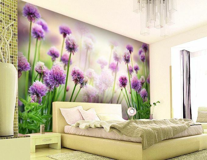 3D Hazy Purple Flowers Wall Paper Wall Print Decal Wall Deco Indoor Murals Wall