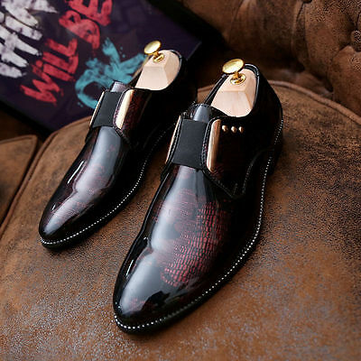 Fashion Men's Slip Ons Flats Business Dress Loafes patent leather Shoes New5