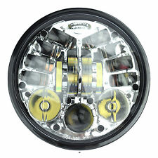 Chrome 5.75 5 3/4 Motorcycle Projector LED Light Bulb Headlight fits Harley Chr