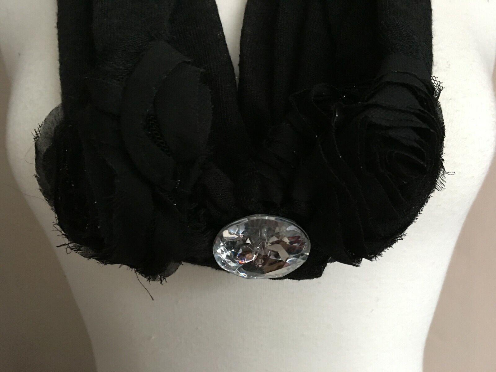 Girls/Women's Black Cowl Neck Type fashion Scarf with decorative glassy button