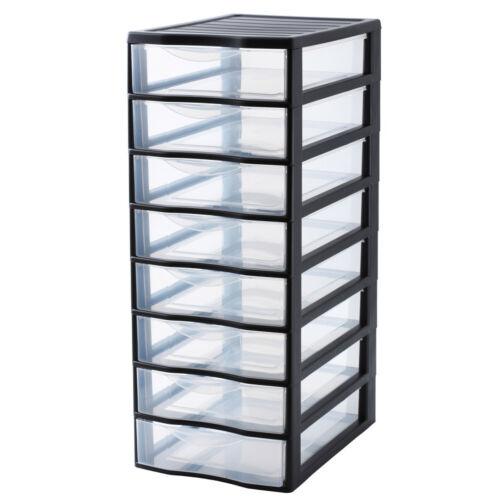 Rotho Schubladen-Turm mit Rollen Regal 8 Schübe Ordnungs-Kisten Kunststoff
