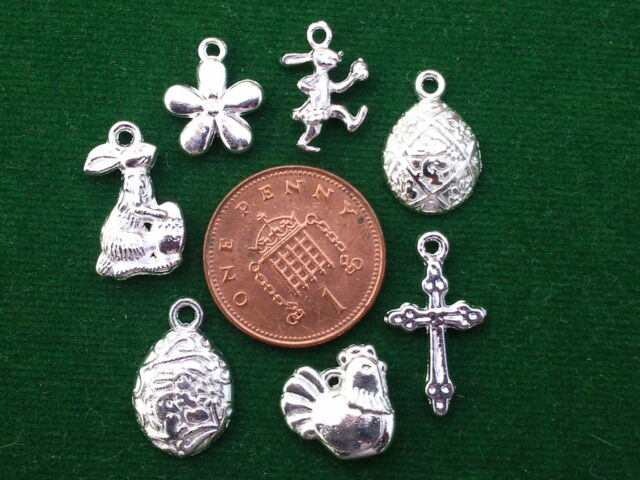 7 Mixed Easter Charms - bright Bunny Eggs Cross Flower Chicken  BUY 4 GET 1 FREE