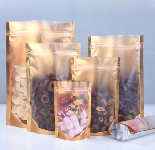 Stand Up Resealable Aluminum Foil Matte Clear Gold Ziplock Bags Mylar Food Pouch