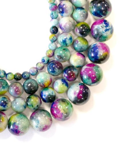 1 Strang Bacatus #2015 Coloré-Mix Jade Perles environ Pierres Précieuses 4-12 mm balles