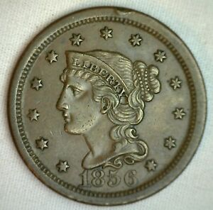 1856-Braided-Hair-Large-Cent-Copper-Extra-Fine-Genuine-1c-Penny-US-Coin-M13-XF