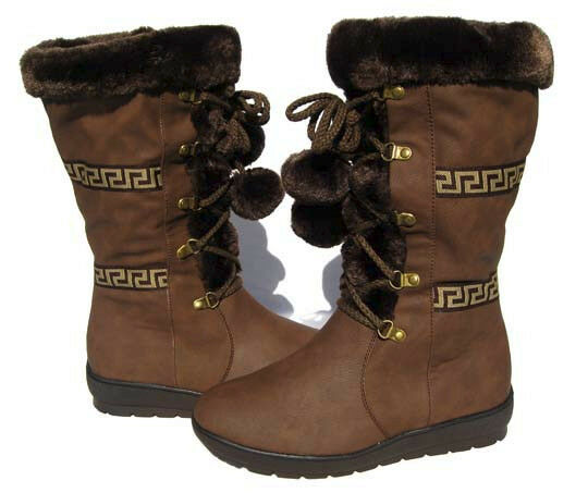 New Women's Fur Lined Mid Calf Boots Brown Shoes Winter Snow Ladies size 8