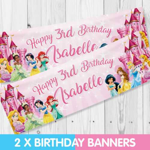 Personalised Disney Princess Birthday Party Banner Children Party Banners x 2