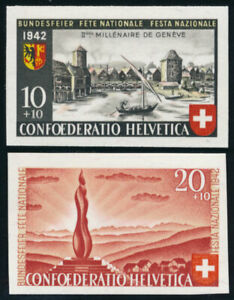 SCHWEIZ-1942-Einzelmarken-aus-Block-7-410-411-tadellos-postfrisch-Mi-60