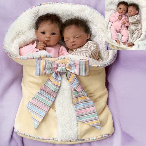 """Waltraud Hanl """"Jada And Jayden"""" Poseable Twin Baby Doll Set NRFB"""