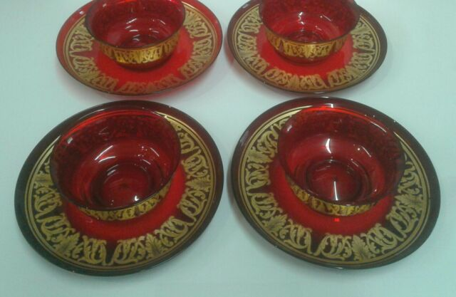 Set of 4 antique Moser Cranberry ruby red bowl saucer plate