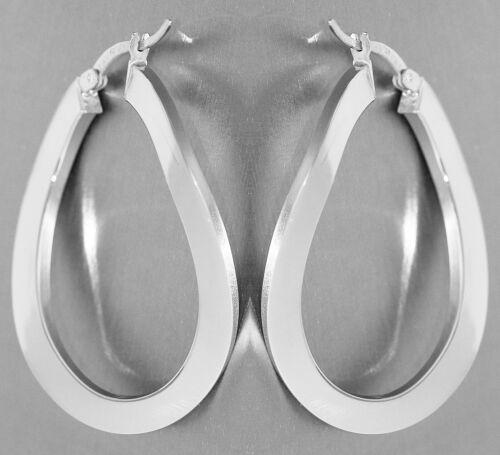 flache Creolen Silber 925 ovale geschwungene Ohrringe Ohrschmuck