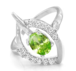 925-Sterling-Silver-Ring-Green-Peridot-Natural-Cocktail-Gemstone-Size-4-11