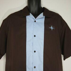 Steady-Clothing-Classics-Camp-Bowling-Shirt-2XL-Brown-Blue-Atomic-Star