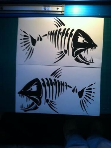 "Large Skeleton Fish Vinyl Decals 12/"" Boat Fishing graphics sticker window 2"
