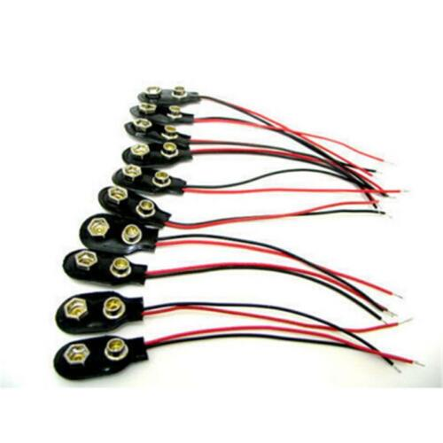 9 Volt 10 Stück 9V Batterie Clip Stecker Soft Shell Schwarz neu ZBDE