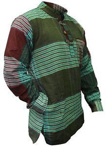 Da-Uomo-Senza-Colletto-Camicia-a-quadrettoni-Hippy-Grandad-completo-maniche-lunghe-Boho-Casual-Tops
