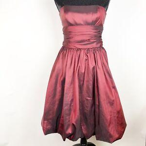 David-039-s-Bridal-Size-4-Dress-81255-Red-Wine-Taffeta-Strapless-Bubble-Hem-Short