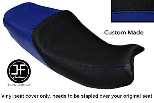 BLACK ROYAL BLUE VINYL CUSTOM FITS TRIUMPH TROPHY 900 1200 96-03 DUAL SEAT COVER