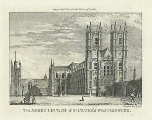Antique-map-Abbey-Church-of-St-Peter-039-s-Westminster