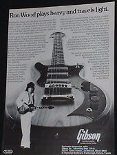1977 Ron Wood of The Rolling Stones plays the Gibson S-1 guitar photo print Ad