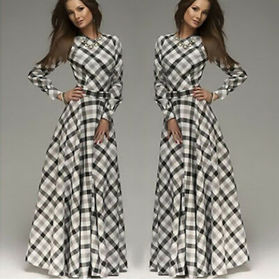Women Elegant Plaid Long Sleeve O-Neck Dress Lady Casual Party A-Line Maxi Dress