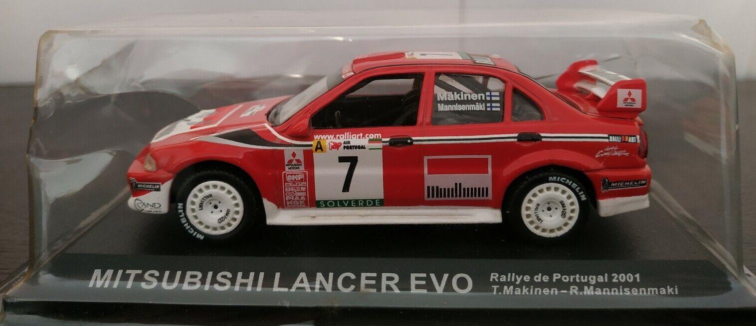 1 43 MITSUBISHI LANCER EVO RALLYE DE PORTUGAL 2001 T. MAKINEN IXO ALTAYA ESCALA