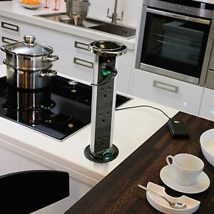 Pop Up Plug Socket Power Dock Chrome Stainless Steel Kitchen