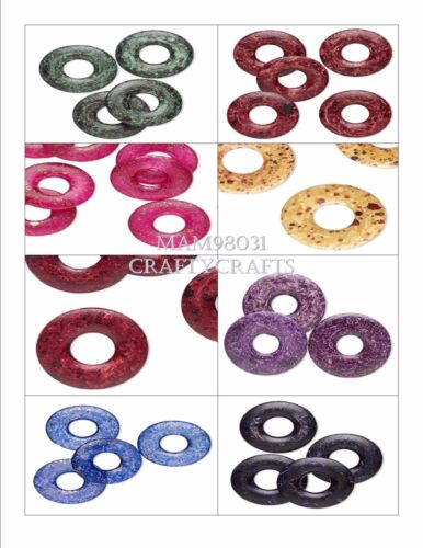 Beads Acrylic SPECKLED Round Undrilled FLAT DONUTS ~ Various Sizes /& Colors
