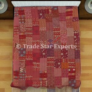 Indian-Kantha-Quilt-Reversible-Bedding-Throw-Ethnic-Queen-Patchwork-Bedspread