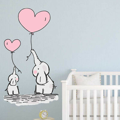 Baby Elephant Balloons Wall Stickers Nursery Decals Kids Bedroom Art Babies Ebay