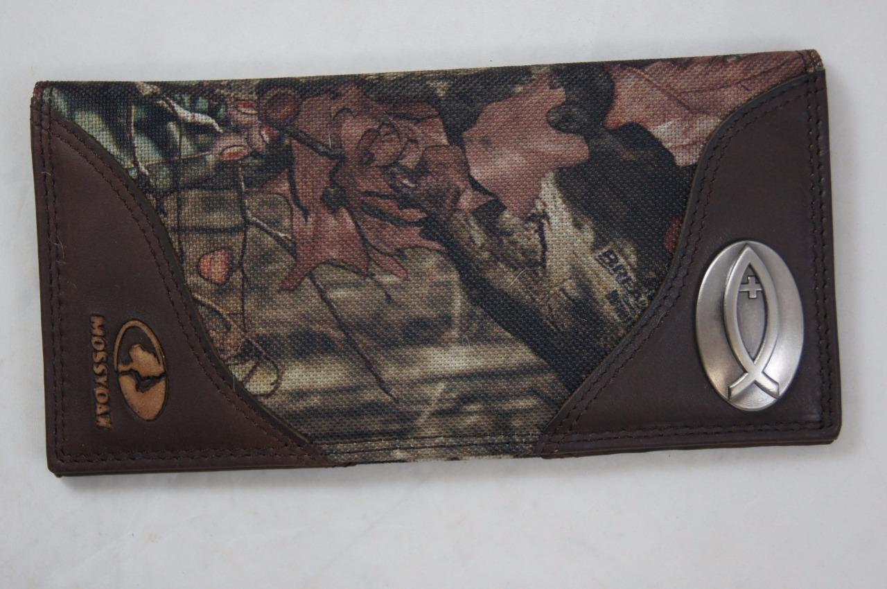 ZEP-PRO Ichthys Christian Fish Leather & Nylon MOSSY OAK Camo WALLET BURLAP BAG
