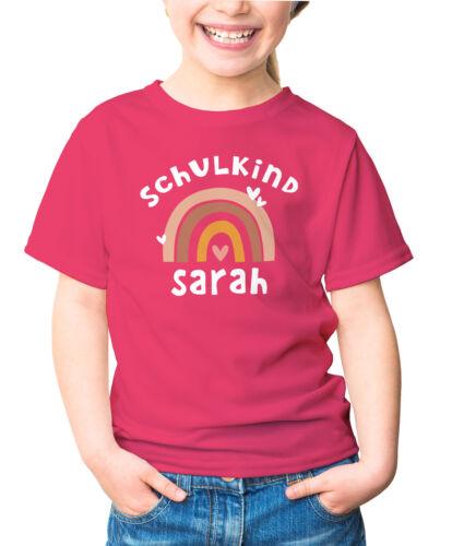 Bambini Ragazza T-shirt Biblioteca nazionale con nomi ARCOBALENO impresso sedendo