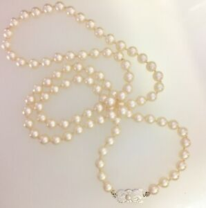 6700c00953d21 Details about Mikimoto Sterling Single Akoya Pearl Strand Necklace //  887-01023 Estate