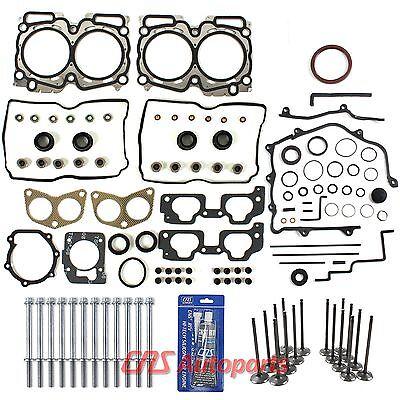 For Subaru 2.5L SOHC Full Gasket Set+ Bolts+ Intake Exhaust Valves+Silicone EJ25