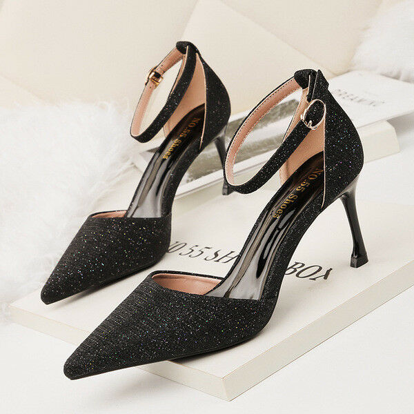 decolte donna eleganti donna decolte stiletto 9 cm nero strass simil pelle 1439 2f76ea