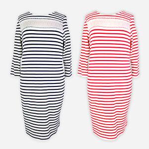 Womens-Ladies-Striped-Long-Sleeve-Work-Smart-Evening-Bodycon-T-Shirt-Dress