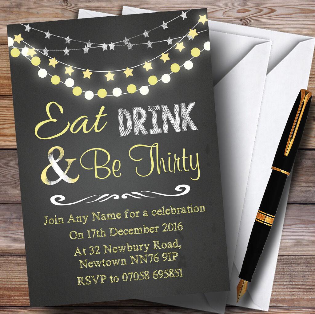 Chalk Gelb Lights 30th Personalised Birthday Party Invitations