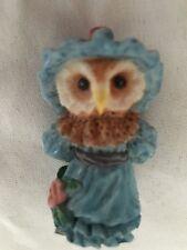 "Blue 1 3/4"" Owl Bird in Bonnet Figurine"