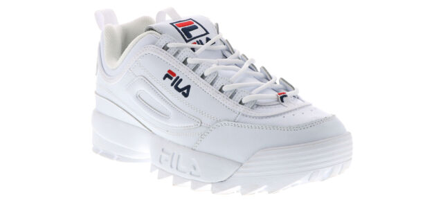 FILA Womens Disruptor II Premium White Leather Athletic Shoe Size 9 ... 2555ec092
