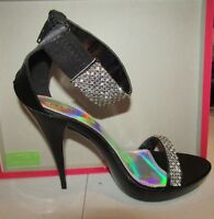 Pleaser Party & Prom Shoes 4 3/4 Revel Black Satin - Size 6 - Rev16/bsa