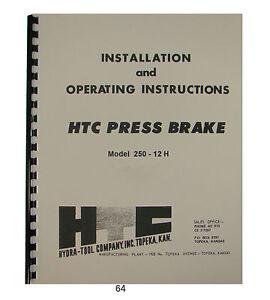 HTC Hydraulic Press Brake Model 250-12H Installation & Operating Manual *64  | eBay | Hydraulic Press Wiring Diagram |  | eBay