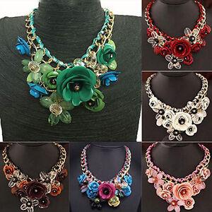 Cn-Collar-Gargantillas-Colgante-de-Cristal-Joyeria-Llamativo-Grueso-con-Flor